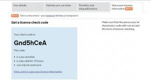 DVLA Check Code