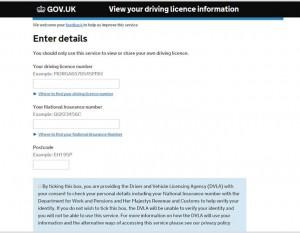 DVLA Licence Information page