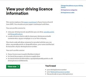 View your driving licence information page