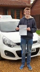 Callum Brown passes his driving test